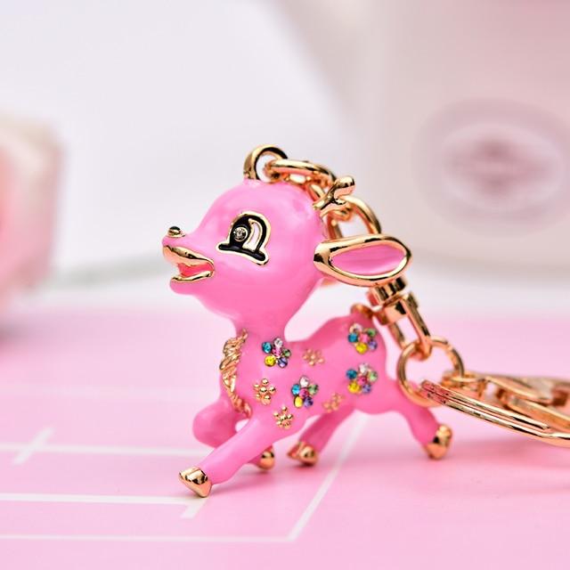 High quality ladies key chain presents a deer peace with ms crystal key keychain key ring creative fashion key cha free shipping