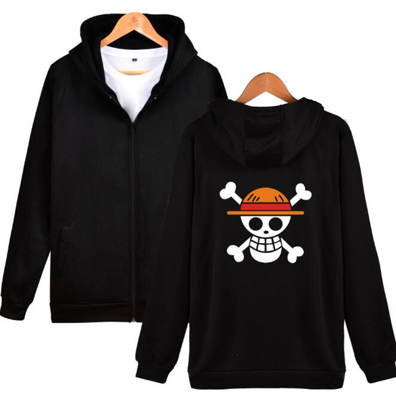 Japan Anime One Piece Oversized Hoodie Men Luffy The Pirate King Zipper Men Hooded Sweatshirts Male Hoody Tracksuit Streetwear