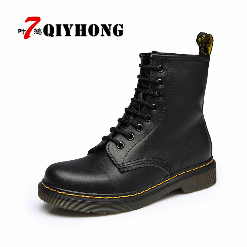 British Style Genuine Leather Women Boots Brand Women Motorcycle Boots Autumn Winter Vintage Women Shoes Plus Size 35-44 doc martens boots white