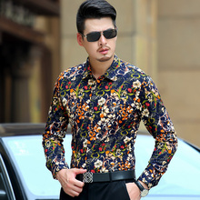 High Quality Men Shirt Long Sleeve Cotton Male Business Casual Flowers Printed Fashion Formal Shirts Slim Masculina Camisa