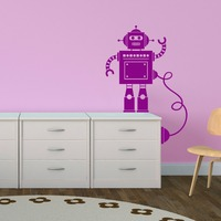 Tiny Robot With Wire Wall Vinyl Decal Sticker Hearts Baby Girls Boys Nursery Robot With Wire