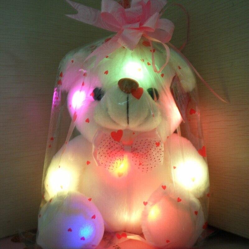 J121 Enfants Favoris! Nouvelle Arrivée 20 cm Belle Souple LED Rougeoyant Coloré Ours en peluche Peluche Peluche Cadeaux Pour d'anniversaire