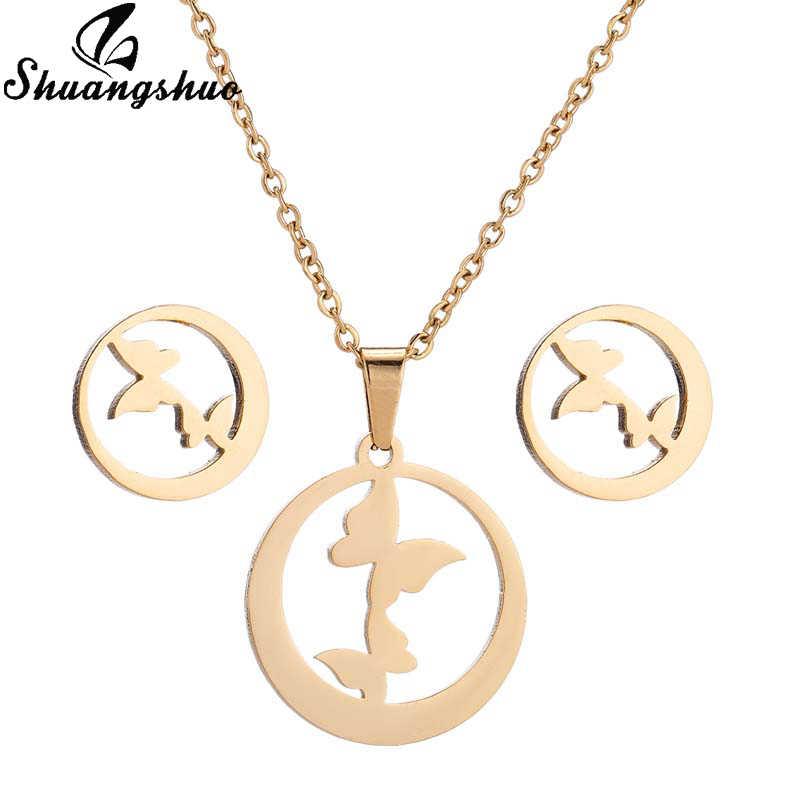 Shuangshuo แฟชั่นผีเสื้อสแตนเลสสร้อยคอชุดเครื่องประดับสำหรับสตรีรอบ Gold สร้อยคอต่างหูชุดของขวัญวันแม่