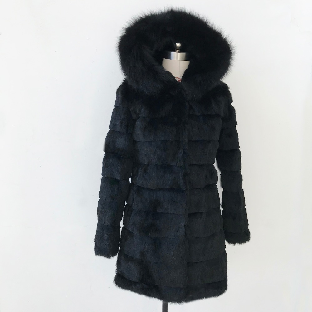 Women's Clothing Real Fur Strict New Winter Real Rabbit Fur Jacket Warm Soft Long Fur Coat Women Festival Dress Outwear Plus Size With Hood And Fox Fur Tsr460 A Great Variety Of Goods