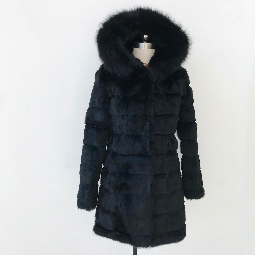 New Winter Real Rabbit Fur Jacket Warm Soft Long Fur Coat Women Festival Dress Outwear Plus Size with Hood and Fox Fur tsr460