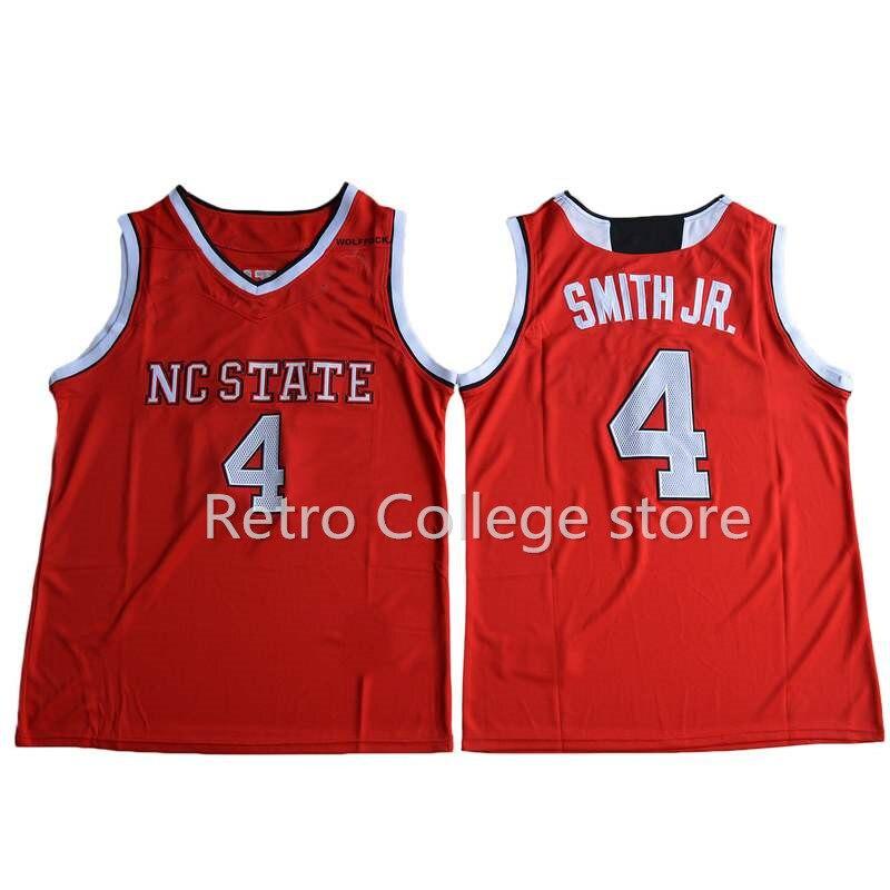 Prix pour #4 Dennis Smith JR. Jersey Mens Basketball NC State Wolfpack Collège Maillots de Sport Tous Piqué Équipe Couleur Rouge Blanc Jersey Cu