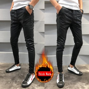 Image 5 - Brand New PU Leather Pants Men Autumn Winter Slim Fit Casual Mens Joggers Pants Drawstring Hip Hop Harem Pant Mens Trousers 40