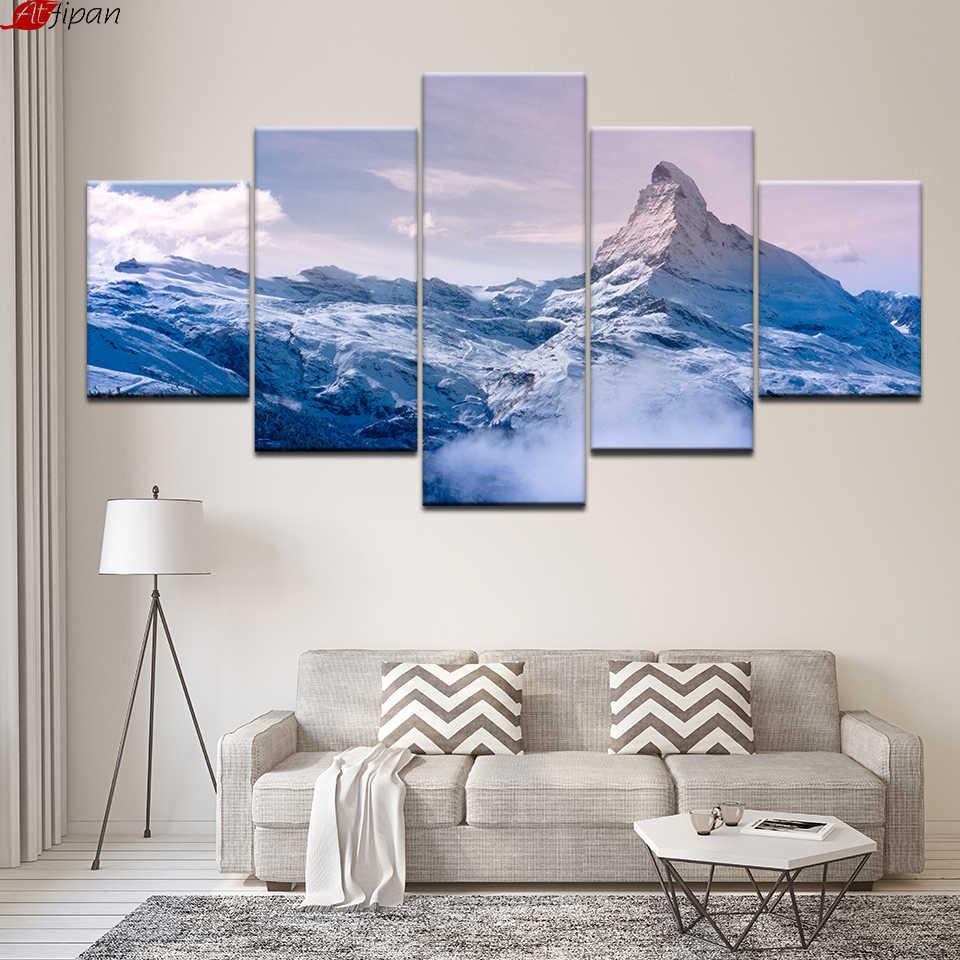 HD Drucke Poster Modulare Leinwand Bilder 5 Stücke Schnee Berge Landschaftsmalerei Wandbilder Rahmen Modernes Dekor Wohnzimmer