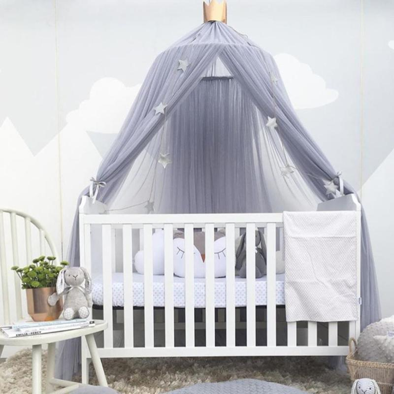 240Cm Home Decorative Baby Bed Mosquito Curtain Hanging Round Crib Tent Hung Dome Mosquito Net Tent Curtains Kids Room Decor V3
