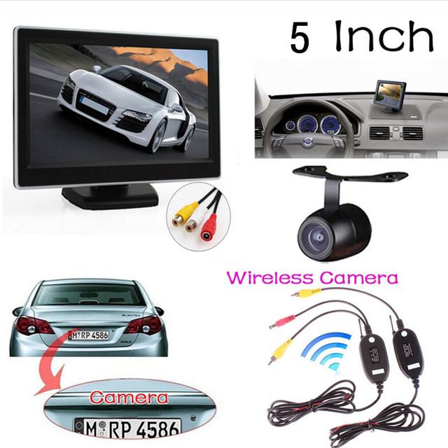 Monitor del coche de 5 Pulgadas TFT LCD resolución Digital de Visión Trasera Del Monitor + Cámara de Visión Trasera Resistente al Agua + Transmisor De Vídeo y el receptor Kit