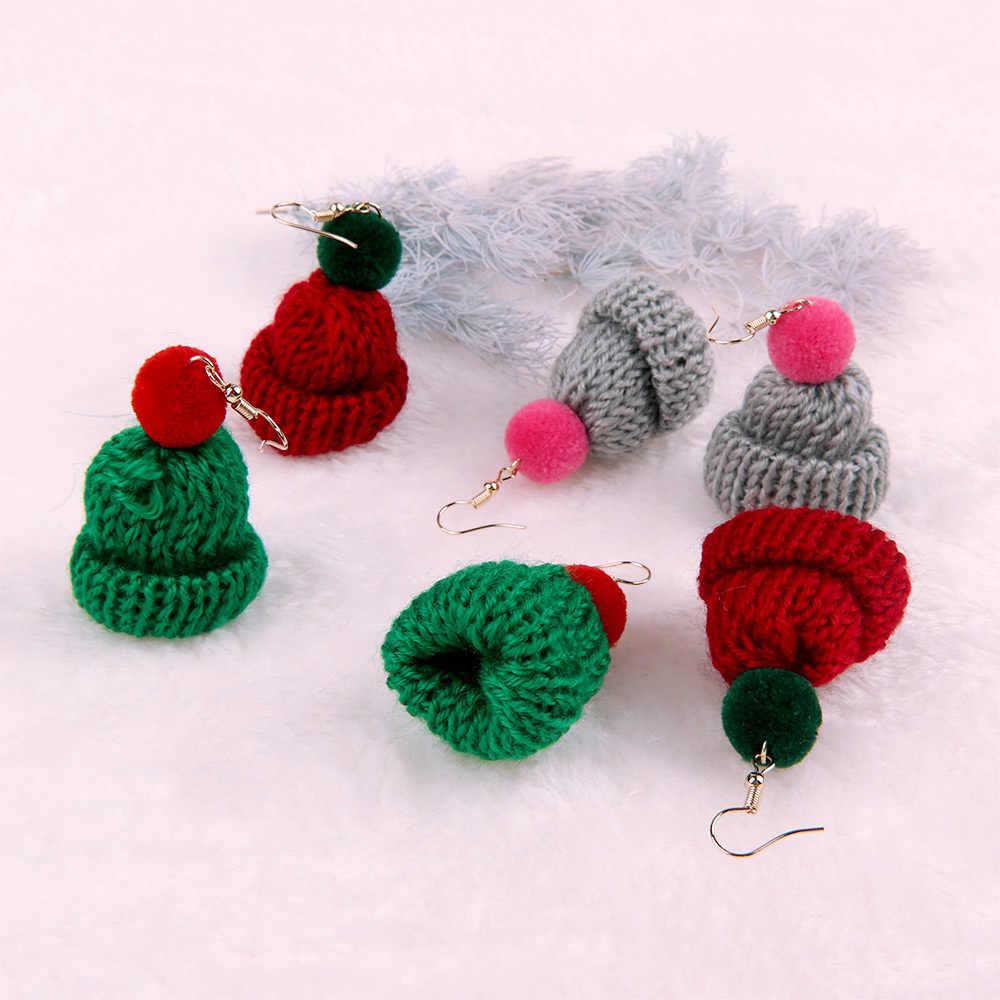 Nova Malha De Lã Chapéu de Natal Brincos Gota para As Mulheres Temperamento Oscila Brincos Declaração Jóias Presente Da Menina