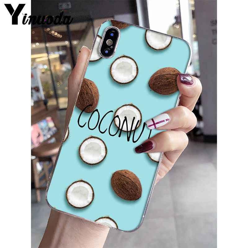 Bonita funda Yinuoda con coco pintado DIY de verano para iPhone 6S 6plus 7 7plus 8 8Plus X Xs MAX 5 5S XR