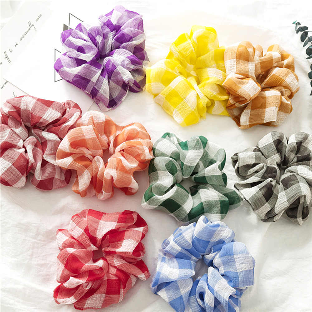 Korean Sweet Plaid Elastic Hair Bands Scrunchies Hair Rope Ties For Girls Women Ponytail Holder hair gum Hair Accessories