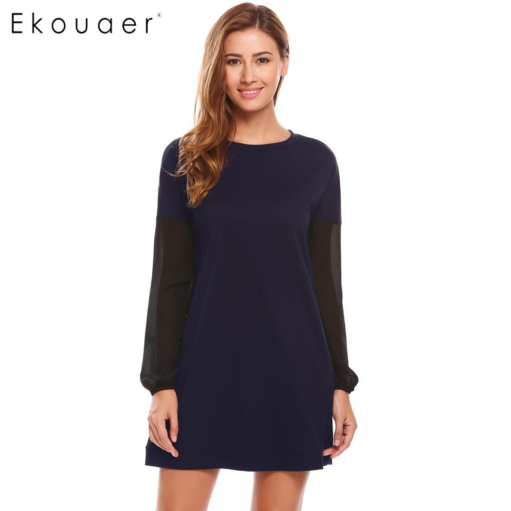 Ekouaer Women   Nightgowns     Sleepshirts   Loose O-Neck Long Sleeve Mesh Patchwork Nighties Sleepwear Dress Spring Autumn Nightdress