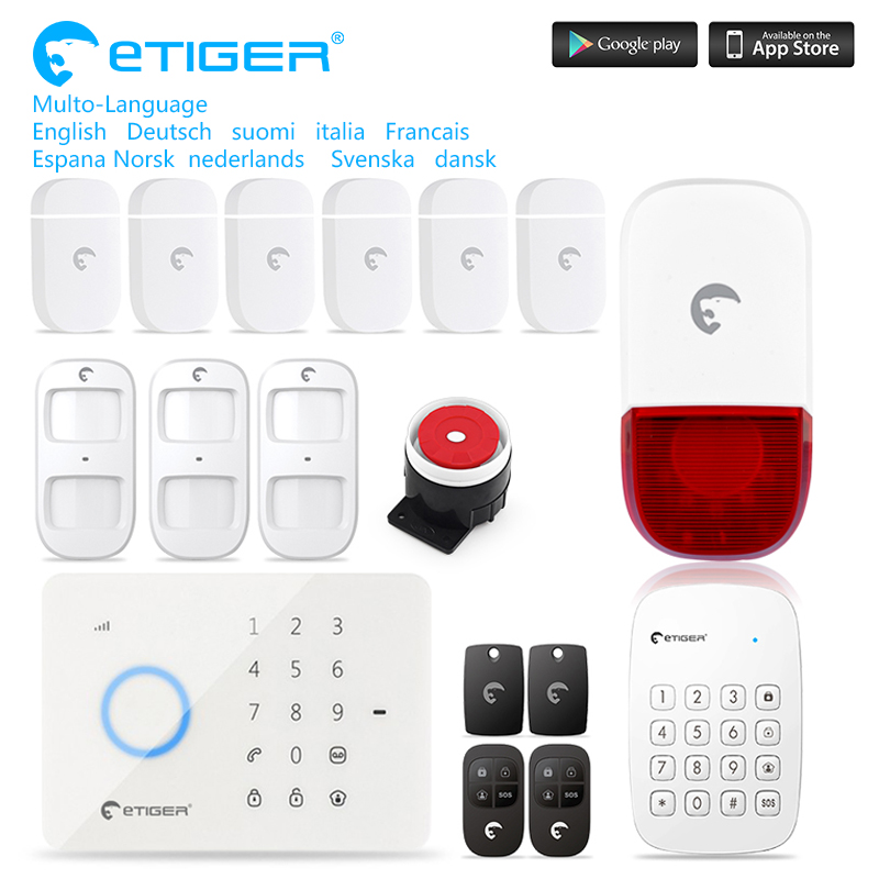 eTIGER S3B IOS Android APP Control Wireless Home Security GSM Alarm System Kits Remote Control Autodial 2017 etiger intelligent android ios app remote control wireless home security pstn gsm alarm system kit large lcd screen