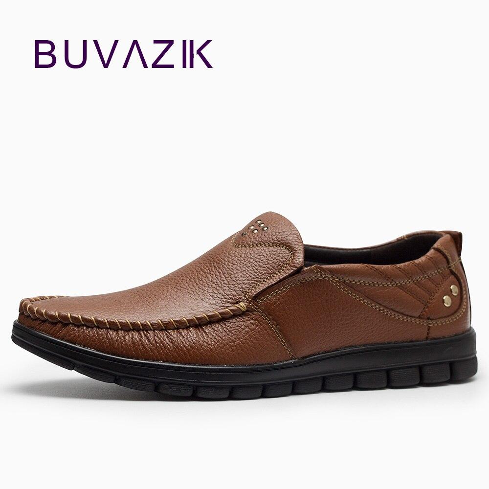 2018 Echtem Leder Casual Schuhe Männer Weiche Und Harte-tragende Gummi Freizeit Schwarz Braun Slip-on Müßiggänger Gutes Renommee Auf Der Ganzen Welt