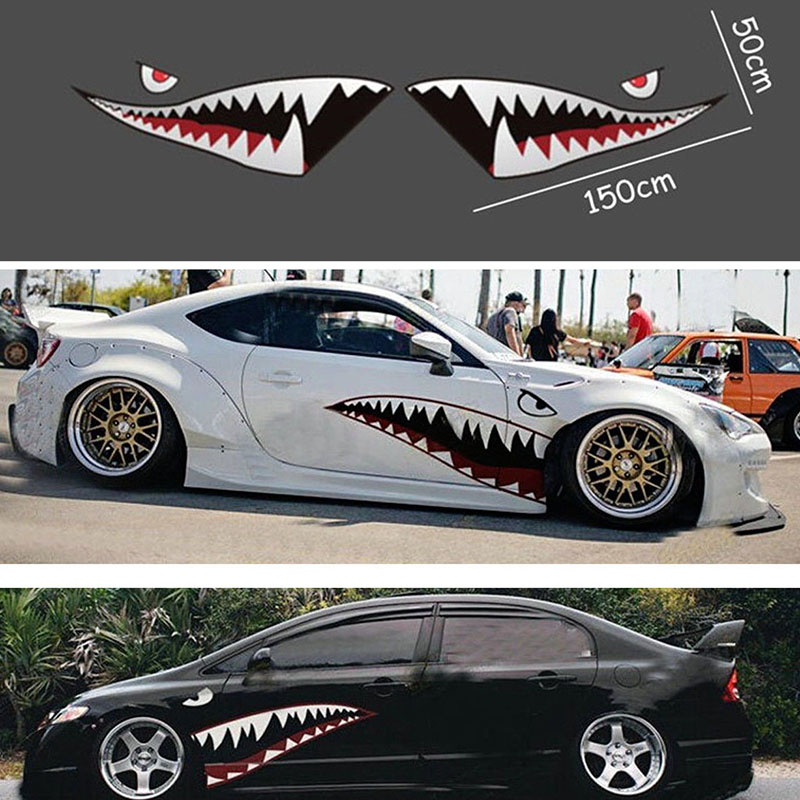 2X DIY Shark Mouth Tooth Teeth Graphics PVC Car Sticker Decal for Car Waterproof-in Car Stickers from Automobiles & Motorcycles