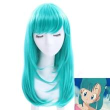 Dragon Ball парик Bulma/бурума Косплэй парик 65 см зеленые фигурных синтетический Хеллоуин костюм вечерние парики+ парик Кепки