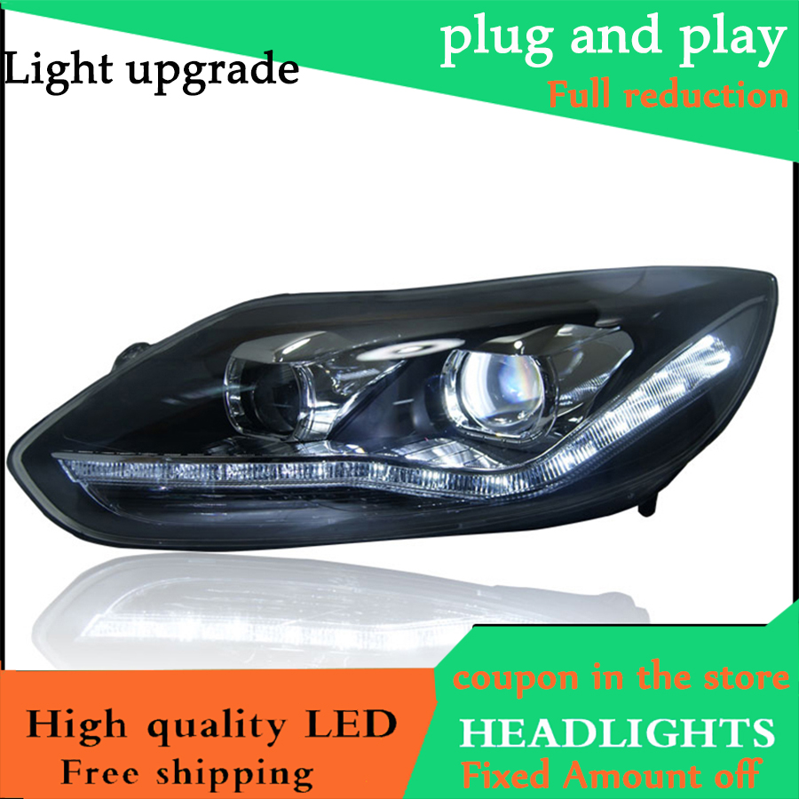 high quality Car styling Head Lamp case For Ford Focus MK3 2012 2014 Headlights LED Headlight