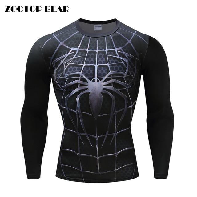 b1e6101c Black Spiderman Armor Men Compression shirts Cosplay T shirts Quick Dry  Fitness tee Compression Shirt Tight