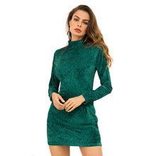 b6b645252f 2018 New Fashion Sexy Women Long Sleeve Velvet Dress High Collar Slim Fit  Red Green Leopard