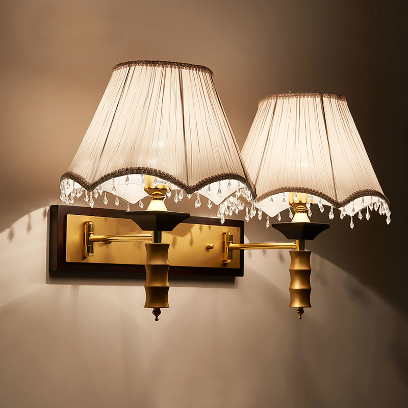 Guest room fabric shade wall sconces wall lights interior ... on Led Interior Wall Sconces id=31612