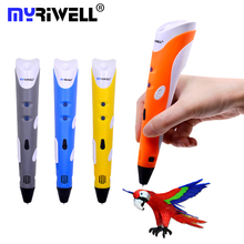 Myriwell RP-100A 3D Drawing Pen DIY Smart 3D Printer Printing Pen with Base 9M 1 75mm ABS Filament for Kids Design Painting cheap EU US UK Blue Grey Orange Yellow 110 240V 2A 12V 2A Fused Deposition Modeling Melting 0 7mm