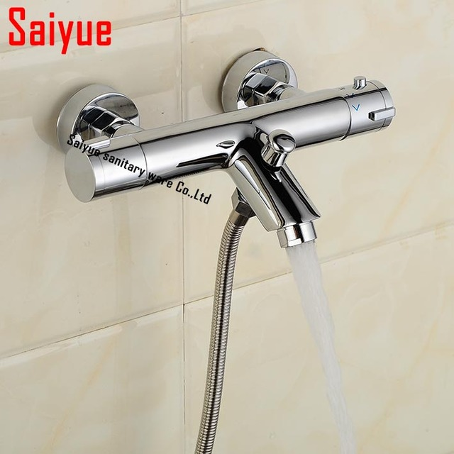 Wall Mount Br Thermostatic Mixing Valve For Bathroom Shower Faucet Hot Cold Water Mixer Constant Temperature