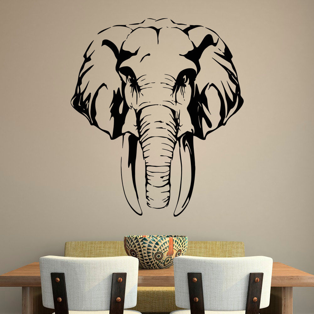 Removable Free Shipping Safari Jungle Elephant Head Wall Sticker <font><b>African</b></font> Animals Wall Decal Arrt <font><b>Home</b></font> <font><b>Decoration</b></font> Y-126