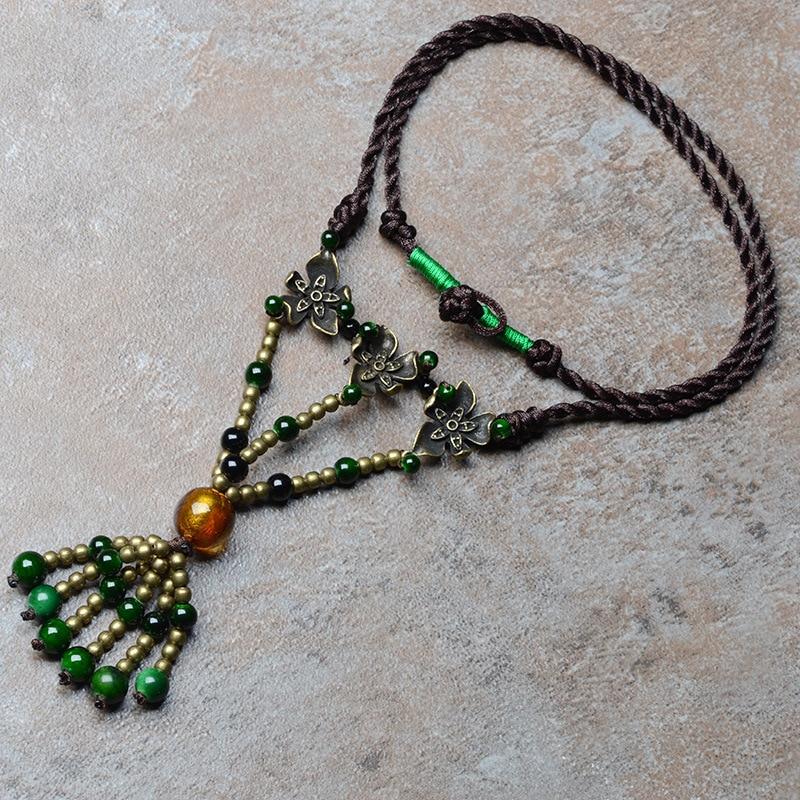 pulover vintage Srednje slog ogrlice maxi za ženske zeleni naravni kamen bronasta kapica obesek 56cm veriga modni nakit
