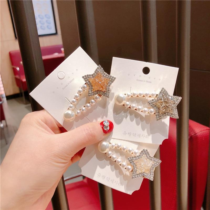 Korea Handmade Rhinestone Star Water drop pearl Women Girls Barrettes Hairpins Hair clips Head wear Accessories-JQAWHRP001C5