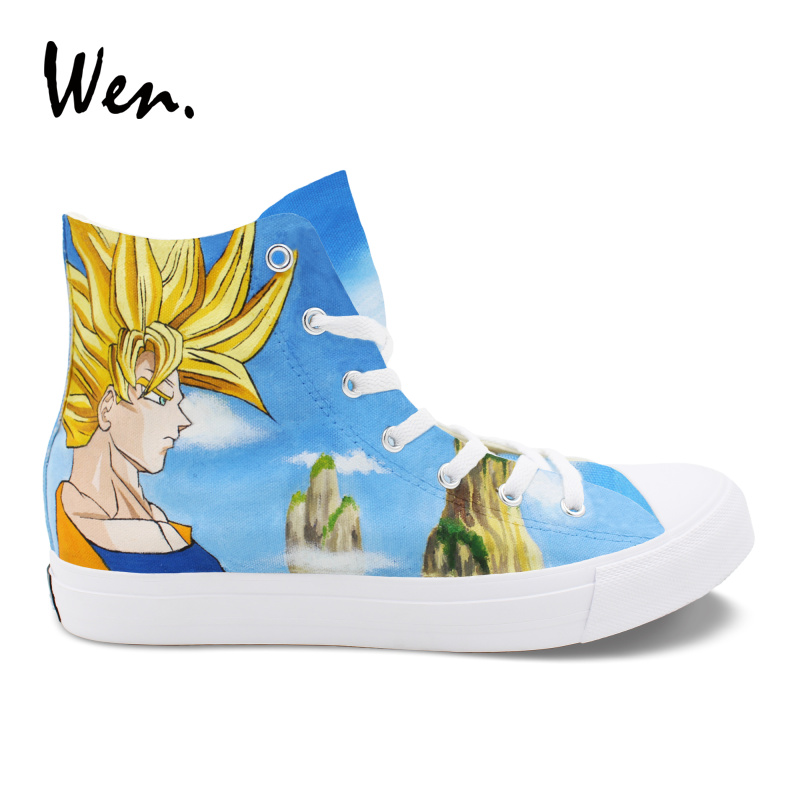 Wen Design Custom Hand Painted Gift Shoes Dragon Ball Anime Canvas Sneakers Man High Top Woman Casual Lace Up Espadrilles wen hand painted original shoes design pet dog husky beach high top custom canvas sneakers man woman casual outdoor shoes