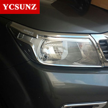 2014 2017 ABS Car Chrome Strips For Nissan Navara Np300 Accessories Head Light Covers Trim For