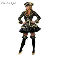 Pirate Costume Women Sexy Skirt Halloween Party Cosplay Fantasy Stage Performance Black Gold With Blinder Hat