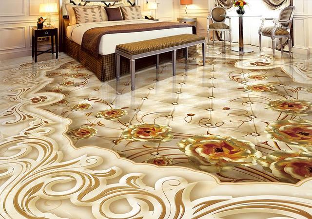 Benutzerdefinierte 3d Bodenbelag Goldene Rose Schattierung Bodenfliesen Selbstklebende Vinyl Tapete Pvc Rollboden Wasserdichte