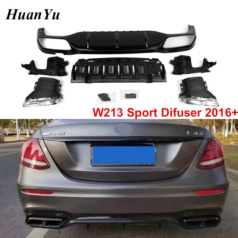 W213 Sport Rear Diffuser for Mercedes-benz E Class E63 Style Rear Bumper Diffuser with Stainless Steel Exhast tips 2016 2017 +