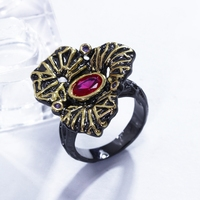 Latest Collection Unique Flower Shape Aneis Feminino Ring For Ladies Black Gold Color Jewelry Women Rings