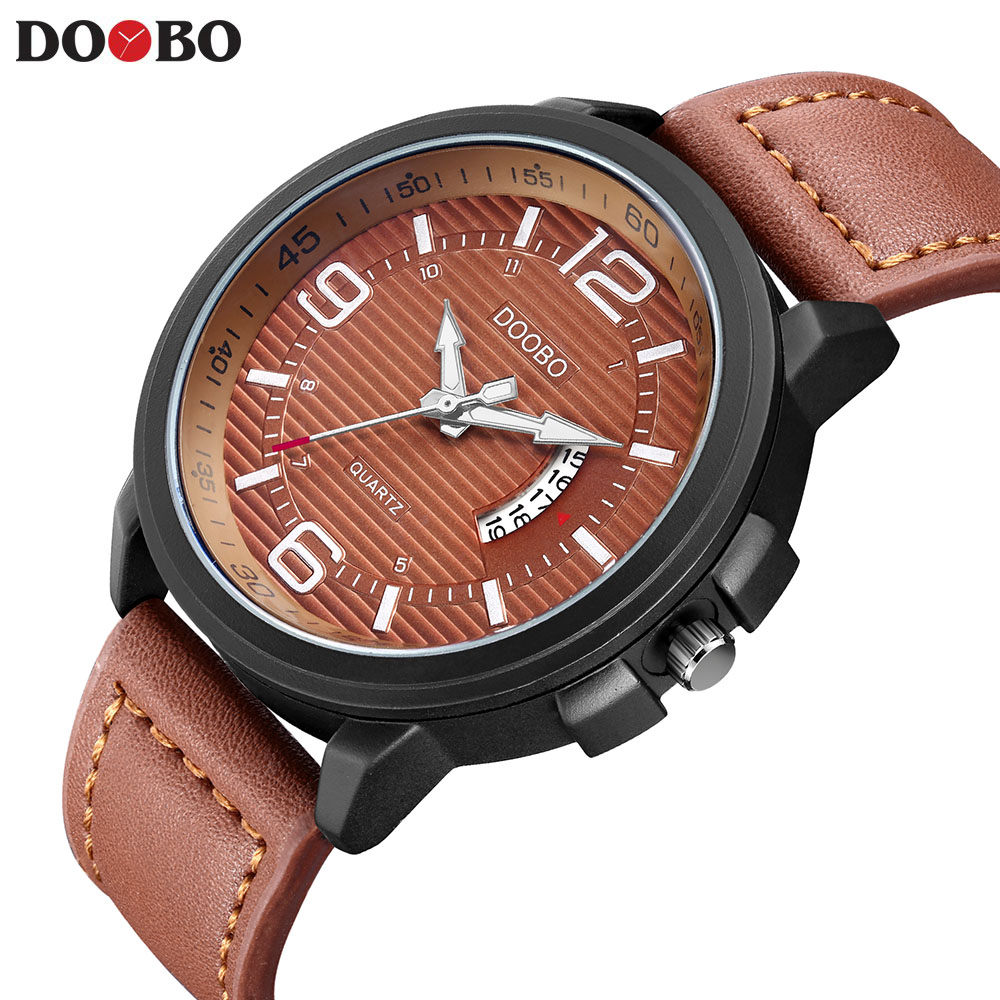 NEW DOOBO Casual mens watches top brand luxury Leather Men Military Wrist Watch Men Sports Quartz-Watch Relogio Masculino Saat