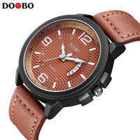 NEW DOOBO Casual Mens Watches Top Brand Luxury Leather Men Military Wrist Watch Men Sports Quartz