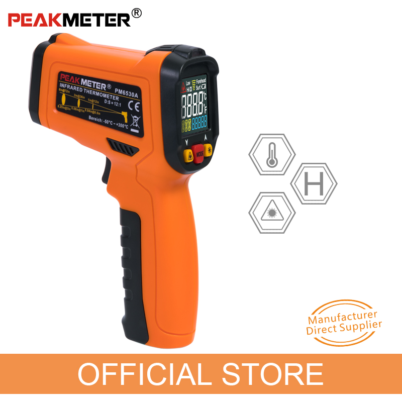 Official PEAKMETER PM6530A Laser LCD Digital Thermometer Temperature Meter Gun infrared -50~300 C Degree Non-Contact Thermometer 0 6 lcd portable non contact infrared thermometer white 50 220°c range