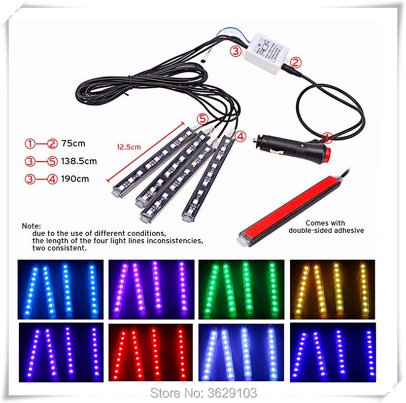 One trailer four car LED remote control colorful atmosphere lights for Renault clio megane captur logan kadjar laguna 2 fluence car shark fin antenna radio signal refitting accessories for renault clio megane captur logan kadjar laguna fluence car styling