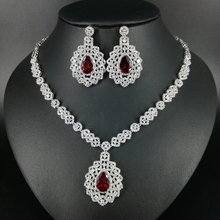NEW Luxury fashion retro red/green/blue/black zircon white gold color necklace earrings set wedding bride banquet dinner jewelry
