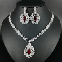 NEW Luxury Fashion Retro Red Green Blue Black Zircon White Gold Color Necklace Earrings Set Wedding