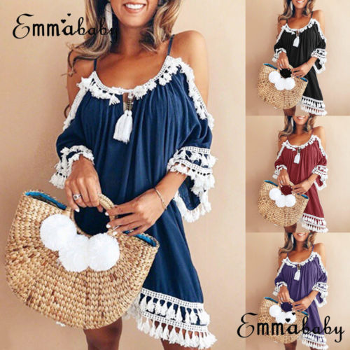 Women Dress Halter Neck Tassel Sun Dress Ladies Off Shoulder Summer Beach Party Dress Платье