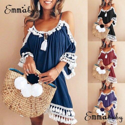 Women Dress Halter Neck Tassel Sun Dress Ladies Off Shoulder Summer Beach Party Dress