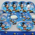 45 unids Mickey Mouse Kids Niños Vasos de Papel Desechables Placas de Decoración de Cumpleaños Fuentes Del Partido Conjunto Bebé Favores de la Ducha De 12 personas