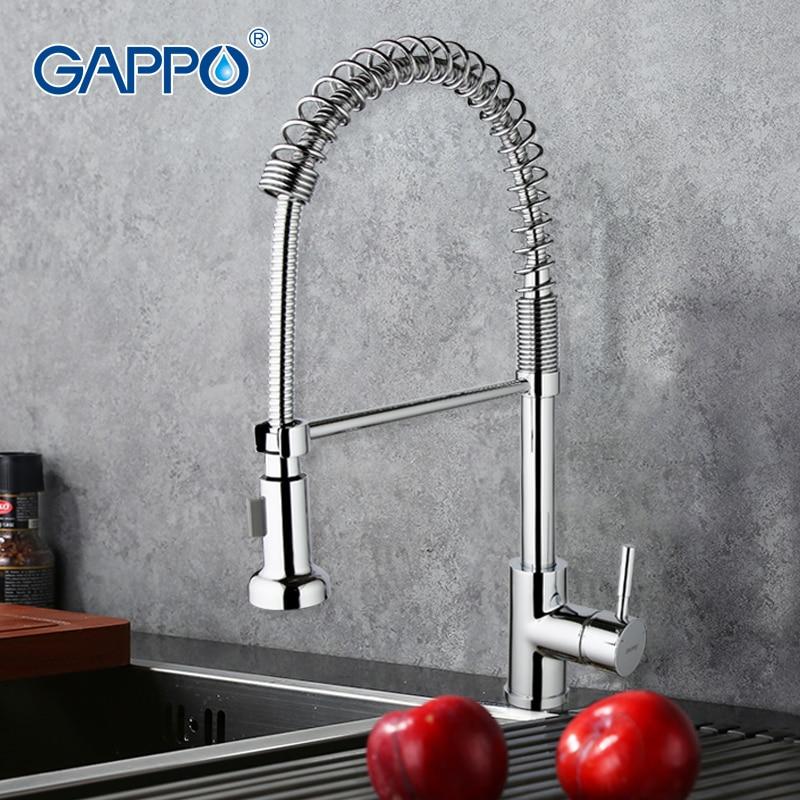GAPPO misturador da cozinha puxe Torneira Da Cozinha misturador pia da cozinha torneira deckmount GA1052-3 grifo primavera torneira de água Fria e quente