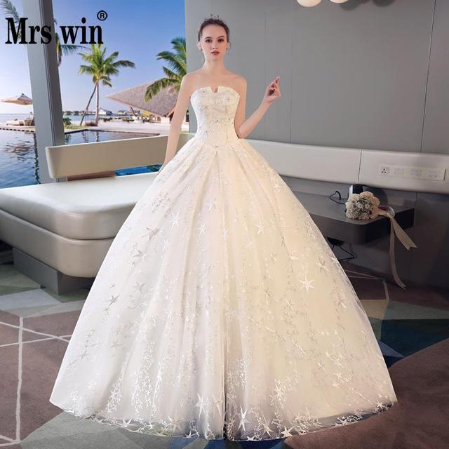 Vestido De Noiva 2018 Strapless Wedding Dress Luxury Long Sweep Train Bling Stars Embroidery Robe