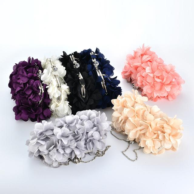 YJGJZ HOUSE Evening Bags Women flower Clutch Bags Evening Clutch Bags Wedding Bridal Handbag Purse Fashion party Bag clip Clutch