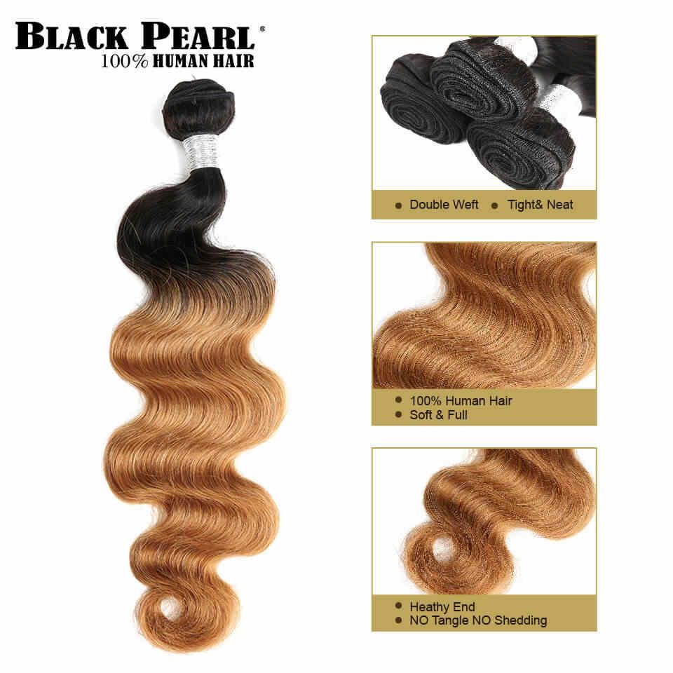 Negro perla precoloreada miel Rubio Ombre cabello tejido paquetes cuerpo onda humano Hair1/4 paquetes T1b27 Remy extensiones de cabello